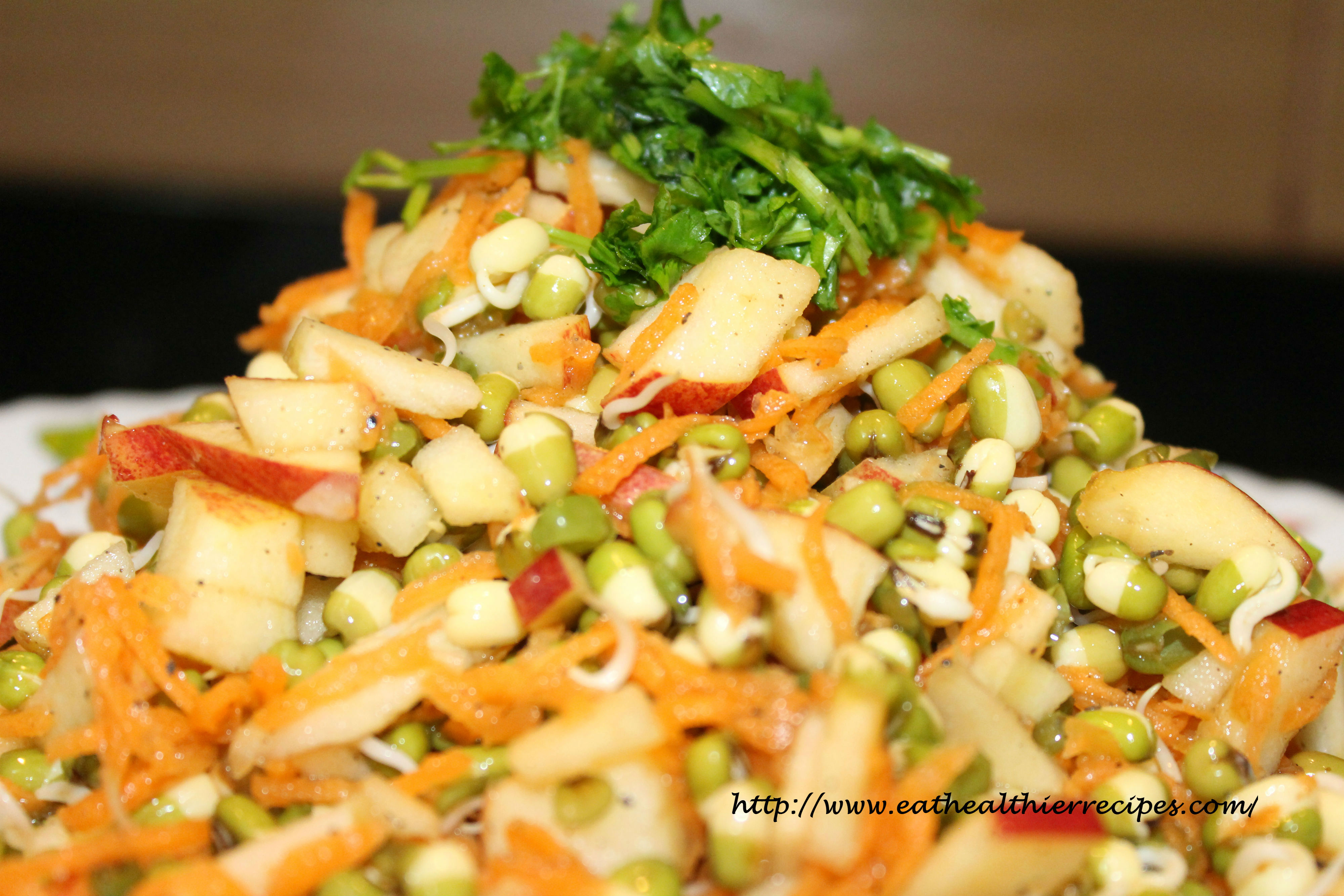 Sprouted Green Gram Apple Salad