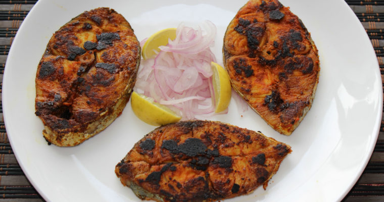 Indian Grilled Fish Steak / Tawa Fish Fry