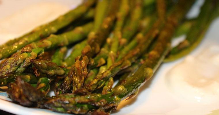 Oven Roasted Asparagus with Yogurt Dip