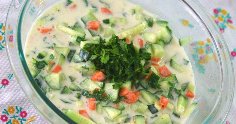 Cucumber Carrot Yogurt Salad/ Raita