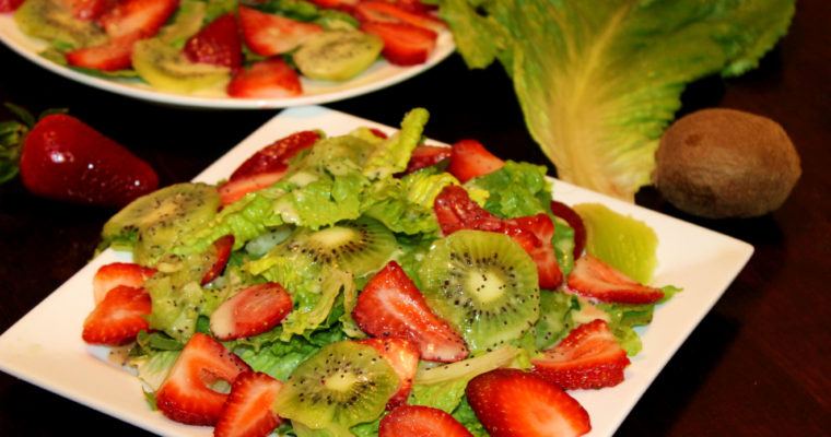 Strawberry Kiwi Salad with Lemon Poppy Seed Dressing