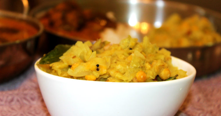 Cabbage Paruppu Kootu | Cabbage with Coconut and Chickpeas